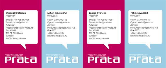 Logotyp och grafisk profil till produktionsbolaget Prata.